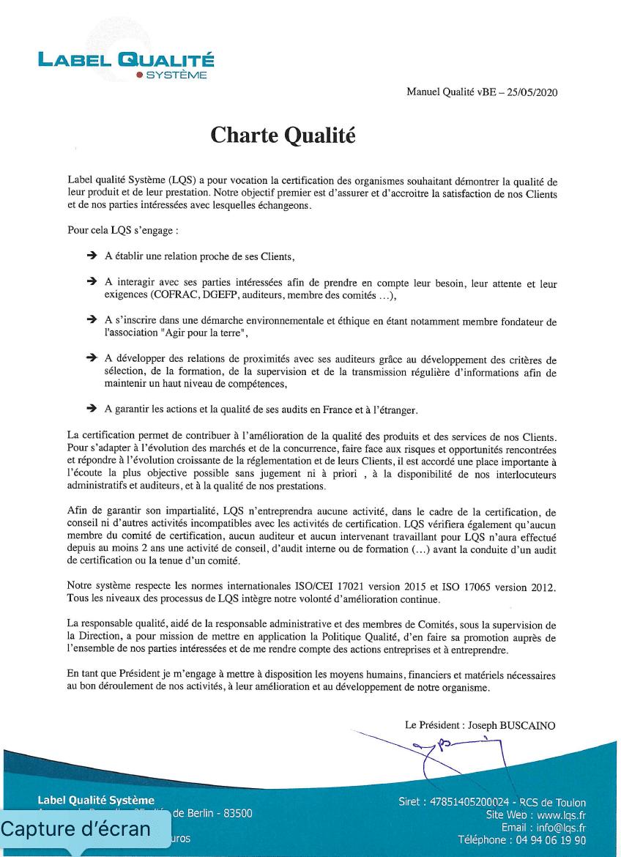 (Français) Charte Qualité LABEL QUALITE SYSTEME